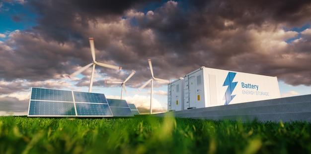 Concetto di sistema di accumulo di energia. energie rinnovabili - fotovoltaico, turbine eoliche e contenitore per batterie agli ioni di litio in una natura fresca. rendering 3d.