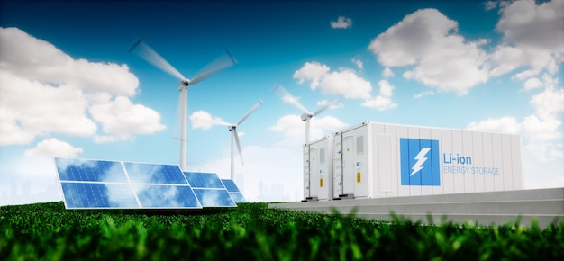 Concetto di sistema di accumulo di energia. energia rinnovabile - fotovoltaico, turbine eoliche e contenitore per batterie agli ioni di litio in una natura fresca con una lontana città sfocata sullo sfondo. rendering 3d.
