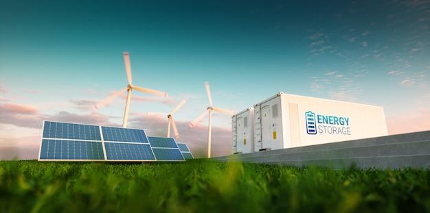 Concetto di sistema di accumulo di energia. energie rinnovabili - fotovoltaico, turbine eoliche e contenitore per batterie agli ioni di litio nella fresca natura mattutina. rendering 3d.