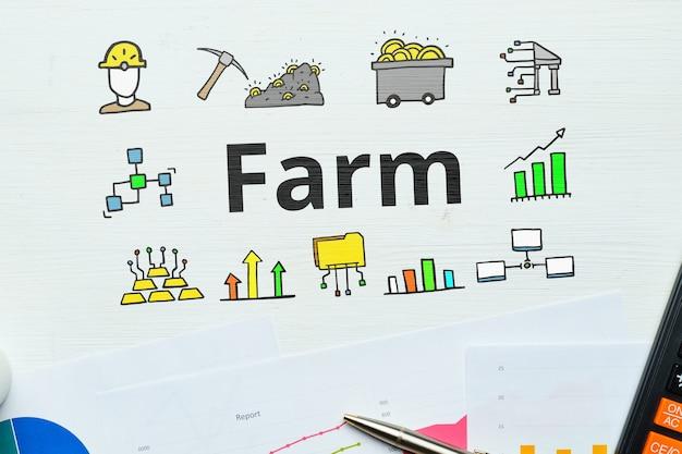 Concept farm per criptovaluta con icone astratte.