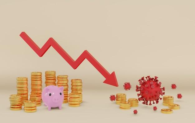 Concetto la situazione finanziaria si è ridotta dall'epidemia del virus covid-19, con il salvadanaio rosa tra le monete e quando il virus ha portato giù la moneta d'oro.