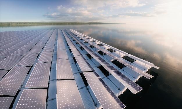 Concetto di un array di pannelli solari galleggianti in un bellissimo e calmo lago mattutino 3d rendering