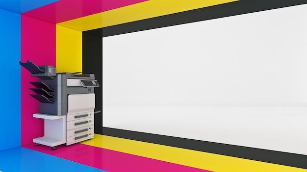 Concetto di stampa a quattro colori rendering 3d