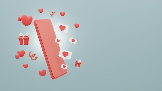 Concetto buon san valentino di smartphone e confezione regalo con cuori su sfondo blu. rendering 3d