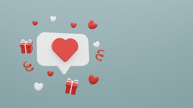 Concetto buon san valentino di icona di social media e confezione regalo con cuori su sfondo blu. rendering 3d