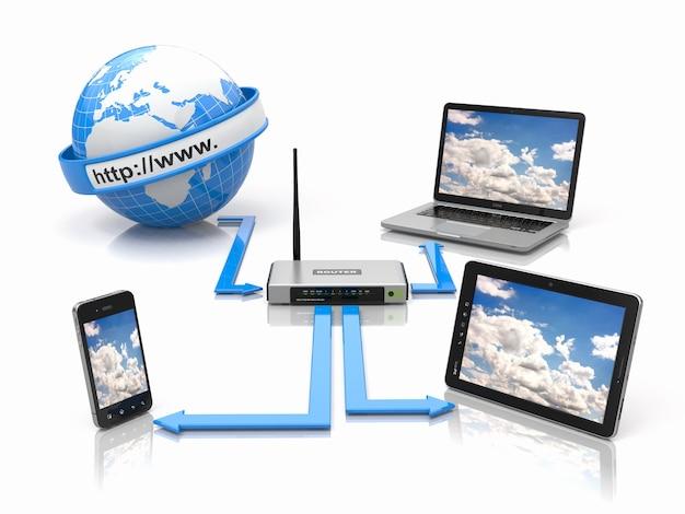 Concetto di rete domestica. sincronizza dispositivi