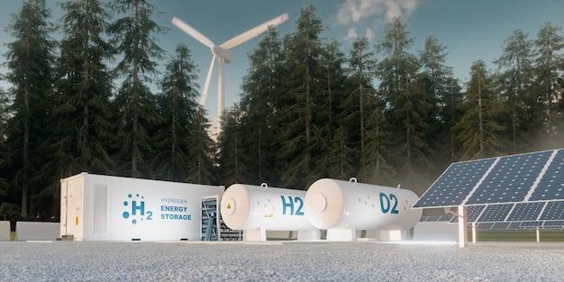 Concetto di stoccaggio dell'energia dell'idrogeno da fonti rinnovabili - turbine eoliche e fotovoltaiche. rendering 3d