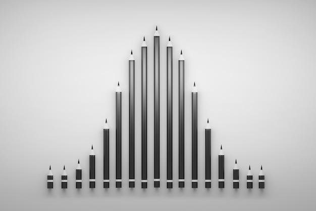 Illustrazione di concetto con grafico gaussiano fatto di matite di carbonio nero. illustrazione 3d