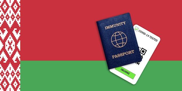 Concetto di immunità al coronavirus. passaporto di immunità e risultato del test per covid-19 sulla bandiera della bielorussia