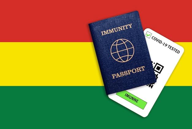 Concetto di immunità al coronavirus. passaporto di immunità e risultato del test per covid-19 sulla bandiera della bolivia