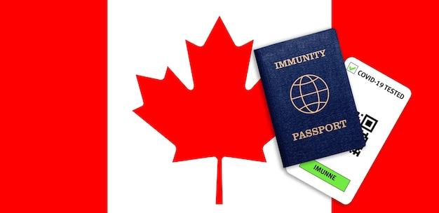 Concetto di immunità al coronavirus. passaporto di immunità e risultato del test per covid-19 sulla bandiera del canada.