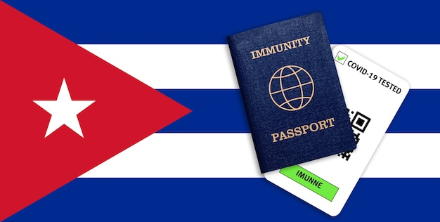 Concetto di immunità al coronavirus. passaporto di immunità e risultato del test per covid-19 sulla bandiera di cuba.