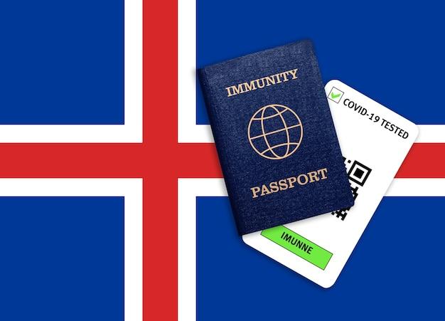 Concetto di immunità al coronavirus. passaporto di immunità e risultato del test per covid-19 sulla bandiera dell'islanda.