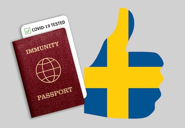 Concetto di immunità al coronavirus. passaporto di immunità e risultato del test per covid-19 sulla bandiera della svezia