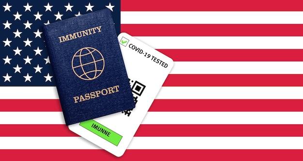 Concetto di immunità al coronavirus. passaporto di immunità e risultato del test per covid-19 sulla bandiera degli stati uniti.