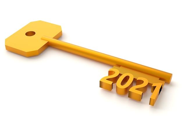 Chiave di concetto con il nuovo anno isolato su bianco