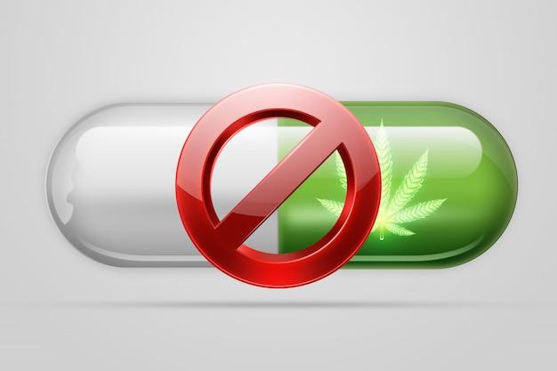 Il concetto di legalizzazione dell'uso medico della marijuana. copia spazio. illustrazione 3d, rendering 3d.