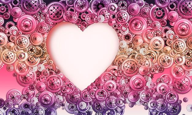 Il concetto di amore e romanticismo nel mondo moderno. cuore su uno sfondo luminoso da vari meccanismi. concetto per il design. san valentino. immagine 3d.