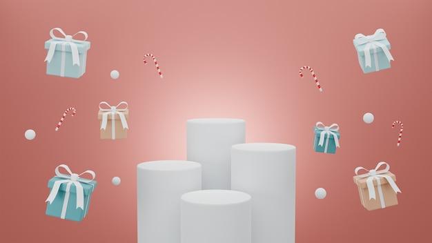 Buon natale di concetto per il podio di presentazione del prodotto con pastello di scatola regalo su sfondo rosso.