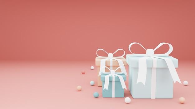 Concetto buon natale con confezione regalo pastello su sfondo rosso.