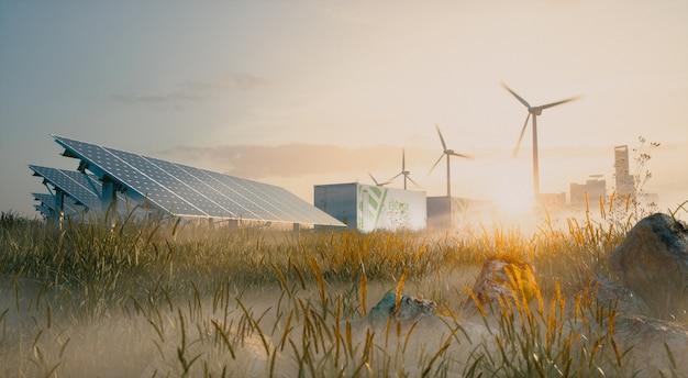 Concetto di soluzione di energia rinnovabile nella bella luce del mattino. installazione di centrali solari, sistemi di accumulo di energia a batterie per container, turbine eoliche e città sullo sfondo. rendering 3d.