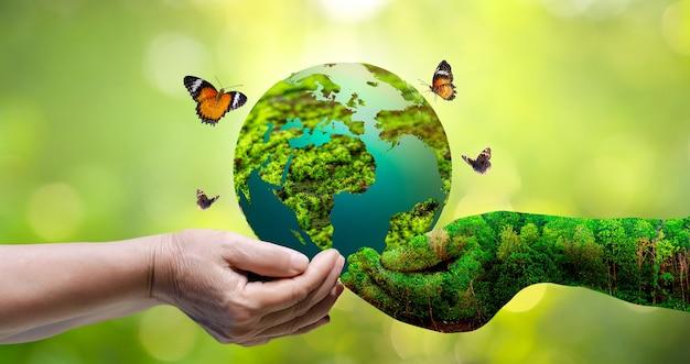 Concetto salva il mondo salva l'ambiente il mondo è nell'erba dello sfondo verde bokeh