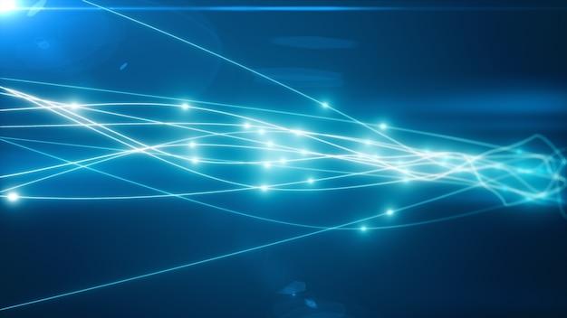 Il concetto di trasmissione del segnale su un'illustrazione di fibra ottica 3d