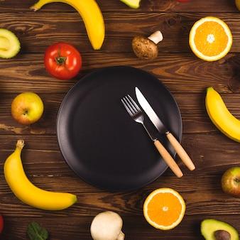 Il concetto di prodotti biologici dimagranti e sani.