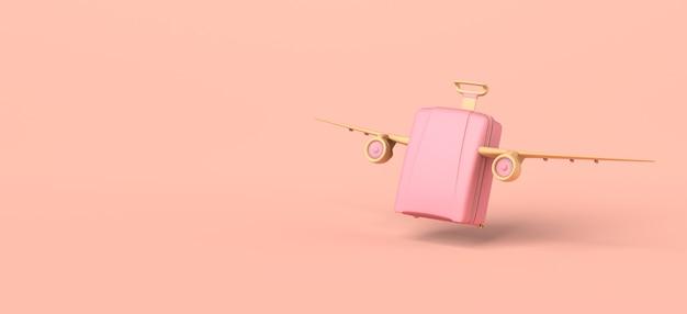 Concetto di viaggio. valigia con ali di aeroplano in decollo. illustrazione 3d. bandiera. copia spazio.