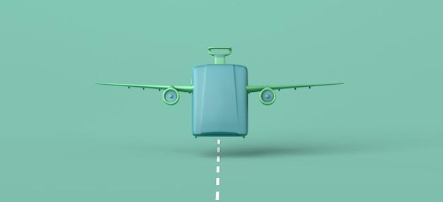 Concetto di viaggio valigia con ali di aeroplano che decollano da un'illustrazione 3d della pista copia spazio