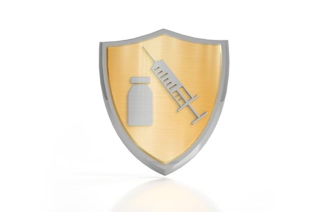 Il concetto di vaccinazione. la campagna di immunizzazione. vaccinazione contro il covid-19. salute e sicurezza. una siringa con un vaccino e un virus con uno scudo protettivo. illustrazioni 3d.