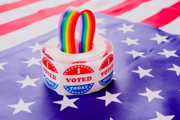 Concetto di rivendicazione dei diritti dei gay per i politici americani alle elezioni.