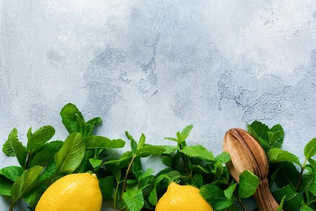 Concetto con ingredienti per la limonata rinfrescante fatta in casa con succo di limone, tè freddo, zucchero di canna e menta su vecchio cemento grigio.