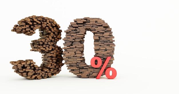 Concetto di mattoni di legno che si accumulano per formare il 30% di sconto, simbolo di promozione, 30% di legno su sfondo bianco.