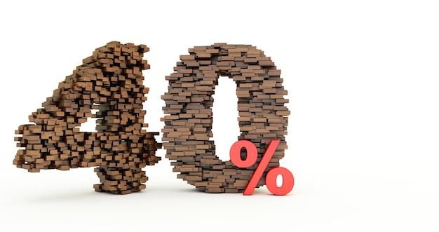 Concetto di mattoni di legno che si accumulano per formare il 40% di sconto, simbolo di promozione, 40% di legno su sfondo bianco.