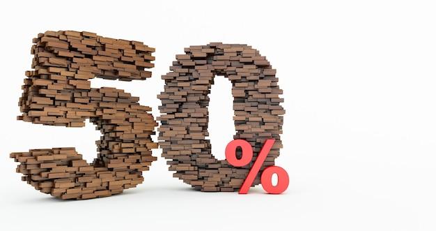 Concetto di mattoni di legno che si accumulano per formare il 50% di sconto, simbolo di promozione, 50% di legno su sfondo bianco. rendering 3d