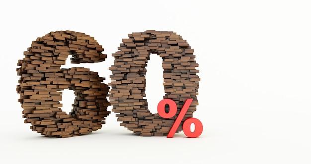 Concetto di mattoni di legno che si accumulano per formare il 60% di sconto, simbolo di promozione, 60% di legno su sfondo bianco. rendering 3d