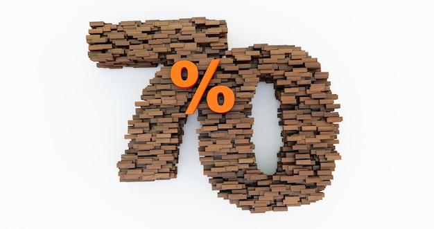 Concetto di mattoni di legno che si accumulano per formare il 70% di sconto, simbolo di promozione, 70% di legno. rendering 3d