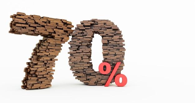 Concetto di mattoni di legno che si accumulano per formare il 70% di sconto, simbolo di promozione, 70% di legno su sfondo bianco. rendering 3d