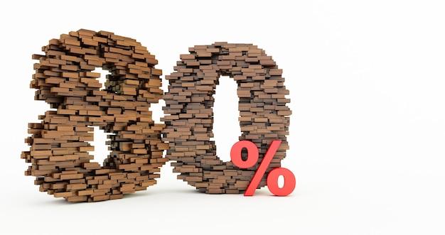 Concetto di mattoni di legno che si accumulano per formare l'80% di sconto, simbolo di promozione, 80% di legno su sfondo bianco. rendering 3d, ottanta