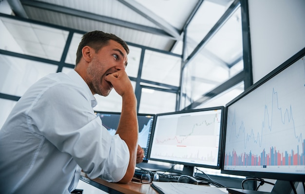 Concezione del fallimento. il giovane uomo d'affari in abiti formali è in ufficio con più schermi. concezione dello scambio e del denaro.