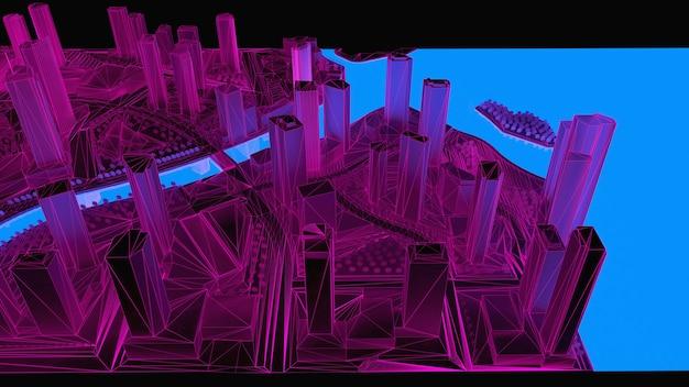 Illustrazione concettuale 3d di una città notturna con illuminazione dall'acqua incandescente. rendering 3d.