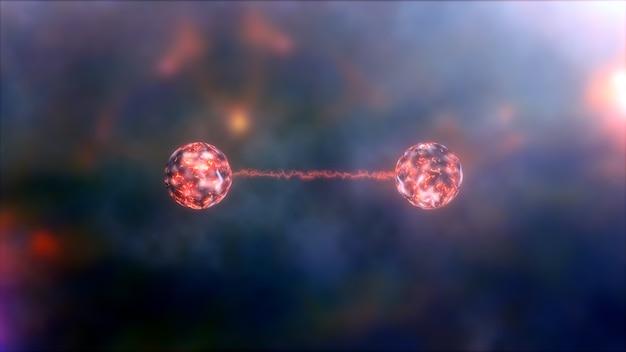 Illustrazione concettuale 3d dell'entanglement quantistico. può anche essere utilizzato per la correlazione quantistica o lo sfondo della meccanica quantistica. rendering 3d fondo di scienza di tecnologia di fisica di informatica quantistica.