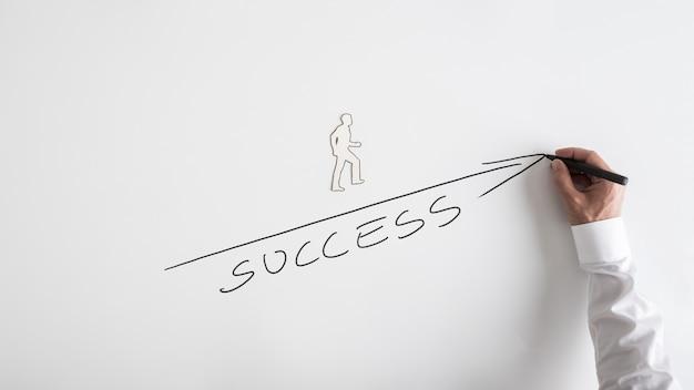 Primo piano concettuale della mano di un uomo d'affari che disegna sulla lavagna bianca un uomo che si arrampica sulla strada verso il successo