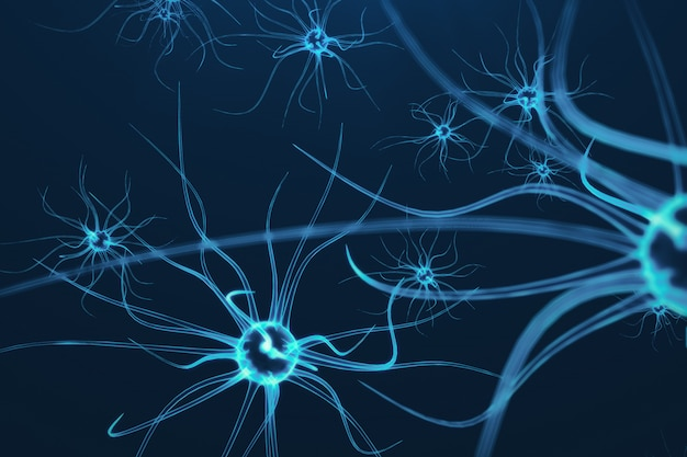 Illustrazione concettuale di cellule neuronali con nodi di collegamento incandescente. cellule synapse e neuron che inviano segnali chimici elettrici. neurone di neuroni interconnessi con impulsi elettrici, rendering 3d