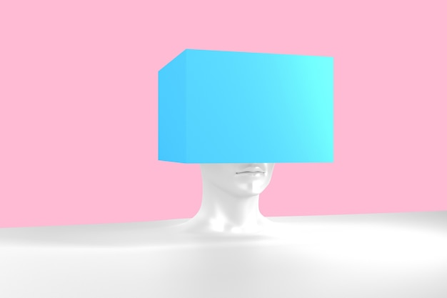 Immagine concettuale di una testa femminile con un cubo invece di un'illustrazione 3d di acconciatura