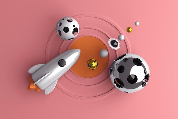 Immagine concettuale di un razzo che vola nello spazio