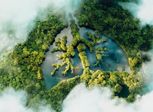Un'immagine concettuale che mostra un lago a forma di polmone in una giungla lussureggiante e incontaminata. rendering 3d.