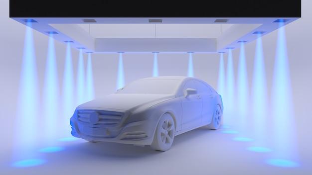 Illustrazione concettuale del quadro televisivo di un'auto di plastica bianca nel mezzo di una stanza bianca con i raggi di luce blu. rendering 3d.
