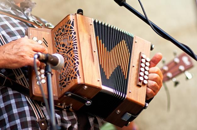 Fisarmonicista di fisarmonica popolare in strada